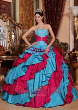 New Discount Aqua Blue and Red Quinceanera Dress Strapless Taffeta Embroidery Ball Gown