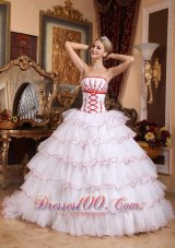 New Fashionable White Quinceanera Dress Strapless Detachable Brush Train Organza Appliques Ball Gown