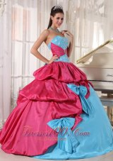 Popular Brand New Aqua Blue and Hot Pink Quinceanera Dress Sweetheart Taffeta Appliques Ball Gown