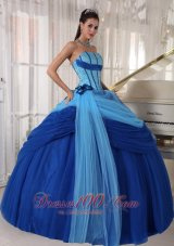 Popular Modest Blue Quinceanera Dress Strapless Tulle Beading Ball Gown