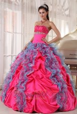 Popular Lovely Hot Pink and Aqua Blue Quinceanera Dress Strapless Organza and Taffeta Beading and Ruffles Ball Gown