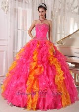 Popular Beauty Hot Pink and Orange Quinceanera Dress Sweetheart Organza Sequins Ball Gown