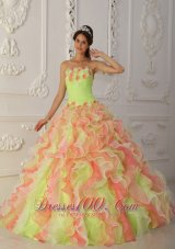 Popular Romantic Multi-Color Quinceanera Dress Strapless Organza Hand Flowers and Ruffles Ball Gown