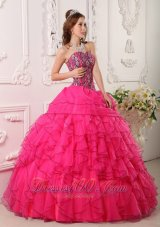 Popular Cheap Hot Pink Quinceanera Dress Sweetheart Organza Beading Ball Gown