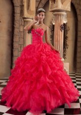 Popular Sexy Coral Red Quinceanera Dress Sweetheart Ruffles Organza Ball Gown