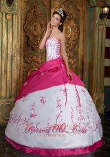 Popular Cute Rose Pink and White Quinceanera Dress Strapless Embroidery Satin Ball Gown