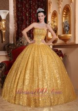 Popular Perfect Gold Quinceanera Dress Sweetheart Sequin Fabric Beading Ball Gown