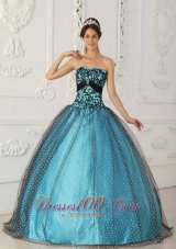 Popular Discount Black and Blue Quinceanera Dress Strapless Taffeta and Tulle Beading and Appliques Ball Gown
