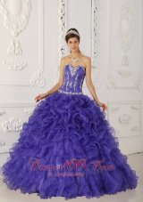 Popular Purple Ball Gown Sweetheart Floor-length Satin and Organza Appliques Quinceanera Dress