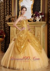 Popular Gold Ball Gown Sweetheart Floor-length Sequined and Tulle Handle Flowers Quinceanera Dress