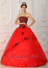 Popular Red Ball Gown Strapless Floor-length Satin and Organza Quinceanera Dress