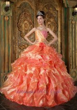 Popular Cheap Orange Quinceanera Dress Strapless Beading and Ruffles Ball Gown