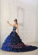 Popular Perfect Royal Blue Quinceanera Dress Sweetheart Chapel Train Taffeta and Organza Appliques Ball Gown