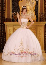 White Ball Gown Strapless Floor-length Satin and Organza Appliques Quinceanera Dress Fashion
