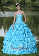 Aqua Blue For Clearance Quinceanera Dress With Strapless Beaded Decorate Taffeta Fashion