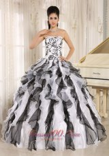 2013 Multi-color Embroidery Ruffles Quinceanera Gowns With Strapless Fashion