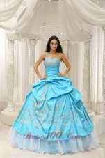 Aqua One Shoulder Embroidery Decorate Quinceanera Dress With Organza Fashion