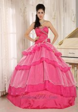 Hot Pink Sweetheart Beaded Decorate and Ruch Bodice Ruffled Layeres Rosario Quinceanera Dress In 2013 Fashion