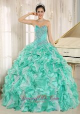 Apple Green Beaded Bodice and Ruffles Custom Made For 2013 Quinceanera Dress In Anderson California Fashion