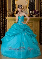 Popular Teal Quinceanera Dress Sweetheart Organza Appliques Ball Gown  for Sweet 16
