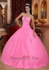 Wonderful Rose Pink Quinceanera Dress Strapless Tulle Beading Ball Gown  for Sweet 16