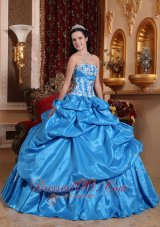 Elegant Baby Blue Quinceanera Dress Strapless Taffeta Appliques Ball Gown  for Sweet 16