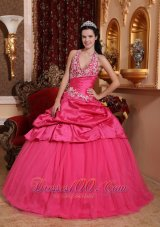 Romantic Hot Pink Quinceanera Dress Halter Taffeta Appliques Ball Gown  for Sweet 16