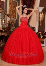 Romantic Red Quinceanera Dress Strapless Tulle Beading Ball Gown  for Sweet 16