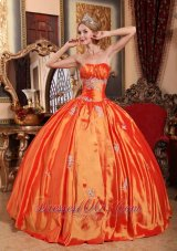 Simple Orange Red Quinceanera Dress Strapless Taffeta Appliques Ball Gown  for Sweet 16