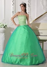 Sweet Spring Green Quinceanera Dress Sweetheart Tulle Beading Ball Gown  for Sweet 16