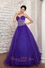 2013 New Style Purple A-line Sweetheart Prom / Evening Dress Tulle Beading Floor-length  for Sweet 16