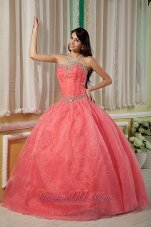 Sexy Watermelon Ball Gown 15 Quinceanera Dress Sweetheart Organza Beading Floor-length  for Sweet 16