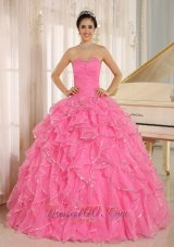 2013 Ruffles and Beaded For Rose Pink Quinceanera Dress Custom Made In Kailua City Hawaii