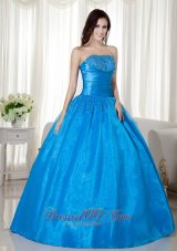 Puffy Sky Blue Ball Gown Strapless Floor-length Taffeta Beading Quinceanera Dress