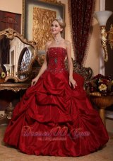 Puffy Beautiful Wine Red Quinceanera Dress Strapless Taffeta Beading Ball Gown