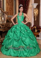 Puffy Exclusive Apple Green Quinceanera Dress Halter Top Taffeta Appliques Ball Gown