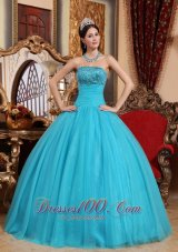 Puffy Popular Teal Quinceanera Dress Strapless Tulle Embroidery with Beading Ball Gown