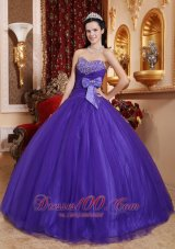 Puffy Best Purple Ball Gown Sweetheart Tulle and Tafftea Beading Quinceanera Dress