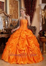 Puffy Gorgeous Orange Red Quinceanera Dress Strapless Taffeta Beading Ball Gown