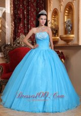 Puffy Romantic Baby Blue Quinceanera Dress Strapless Organza Appliques Ball Gown
