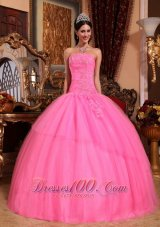 Puffy Discount Rose Pink Quinceanera Dress Strapless Tulle Appliques with Beading Ball Gown