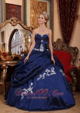 Puffy Modest Blue Quinceanera Dress Sweetheart Taffeta Appliques and Pick-ups Ball Gown