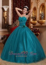 Puffy Pretty Teal Quinceanera Dress Sweetheart Tulle Beading Ball Gown