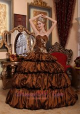 Puffy Exquisite Brown Quinceanera Dress Sweetheart Chapel Train Taffeta Appliques and Pick-ups Ball Gown