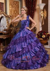 Puffy Remarkable Purple Quinceanera Dress One Shoulder Taffeta and Organza Hand Made Flowers Ball Gown