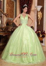 Puffy Simple Yellow Green Quinceanera Dress V-neck Tulle and Taffeta Beading Ball Gown