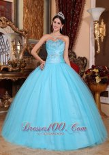 Puffy Pretty Baby Blue Quinceanera Dress Sweetheart Tulle and Taffeta Beading and Ruch Ball Gown