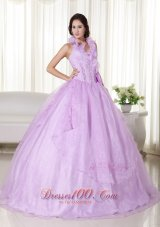 Puffy Lavender Ball Gown Halter Floor-length Organza Embroidery and Beading Quinceanera Dress
