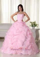 Puffy Pink Ball Gown Strapless Floor-length Organza Beading Quinceanera Dress