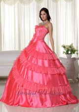 Puffy Coral Ball Gown Strapless Floor-length Taffeta Embroidery Quinceanera Dress